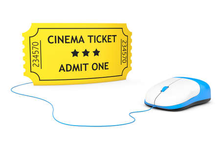 blockbuster: Yellow Cinema Ticket and computer mouse on a white background