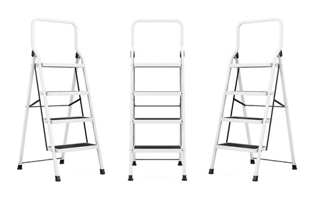 reachability: Extreme Closeup Ladders on a white background Stock Photo