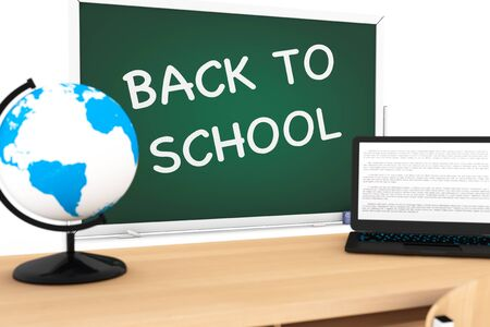 first year student: Blackboard with Back to School Sign on a white background