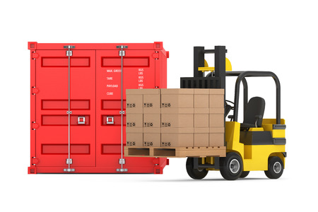 Transportation Concept. Forklift with Cardboard Boxes near Shipping Container on a white background Imagens