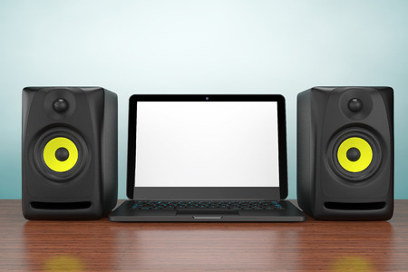 acoustic systems: Old Style Photo.  Audio Speakers with Laptop on the table