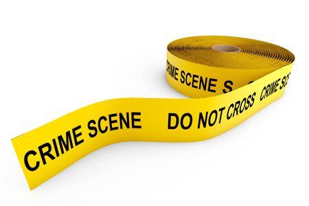 crime scene: Crime Scene Yellow Tape on a white background Stock Photo