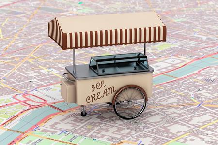 carretto gelati: Vintage Ice Cream carrello sopra il programma primo piano estremo Archivio Fotografico