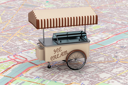 sidewalk sale: Vintage Ice Cream Cart over map extreme closeup