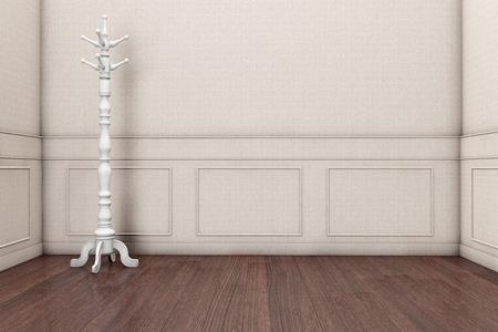 ropa colgada: Estante de la capa de madera en frente de una pared gris. Las 3D