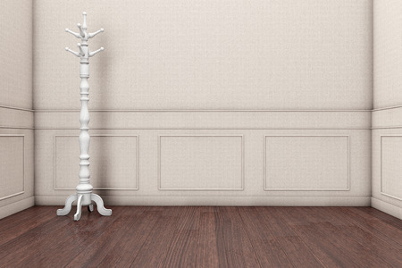 Wooden Coat Rack in front of a grey wall. 3d rendering