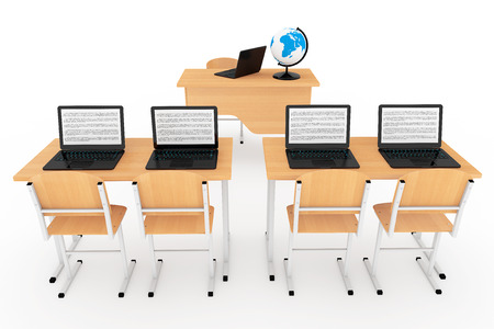 Modern Classroom Concept. School Desks with Laptops in Classroom on a white background Stock Photo