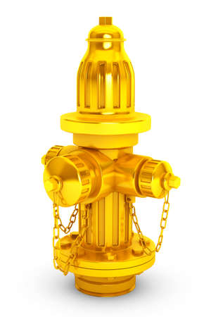 hydrant plug: Golden Fire Hydranton a white background 3d rendering