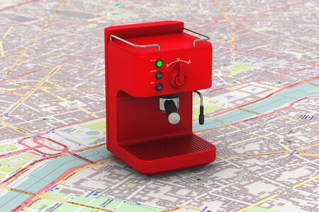 Espresso Coffee Making Machine over map 3d rendering