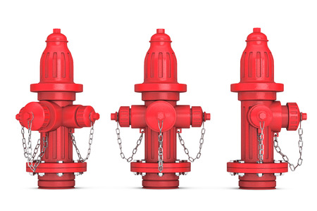 hydrant plug: Red Fire Hydrants on a white background 3d rendering
