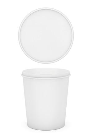 yogurt ice cream: White Food Plastic Tub Bucket Container For Dessert, Yogurt, Ice Cream and Sour Sream on a white background