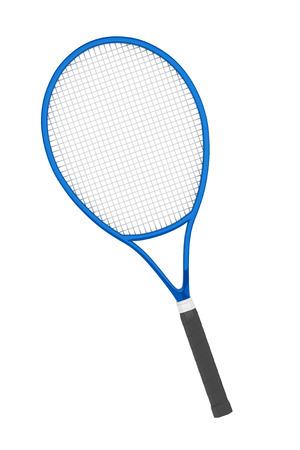 tennis racket: Azul Primer raqueta de tenis sobre un fondo blanco
