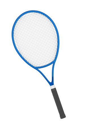 tennis racket: Blue Closeup Tennis Racket on a white background
