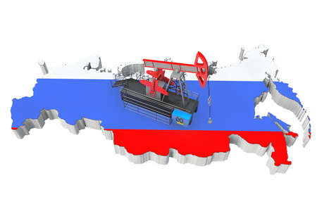 natural gas prices: Oil Pump over Russia Map on a white background Stock Photo