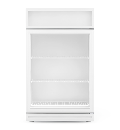 Fridge Drink with glass door on a white background.