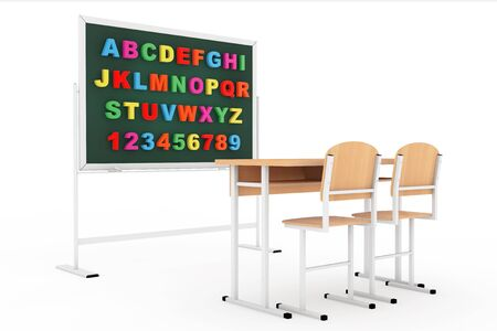 pedagogy: Classroom with blackboard and desk on a white background