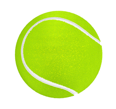 rebound: Closeup of tennis ball on a white background Stock Photo