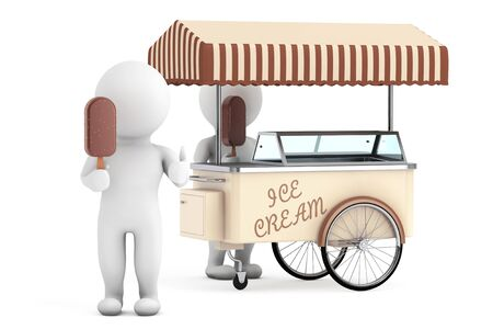 ice cream cart: 3d persona bianca con il gelato nei pressi di gelato Carrello su uno sfondo bianco