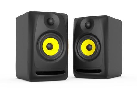 acoustic systems: Closeup Audio Speakers a white background. 3d rendering