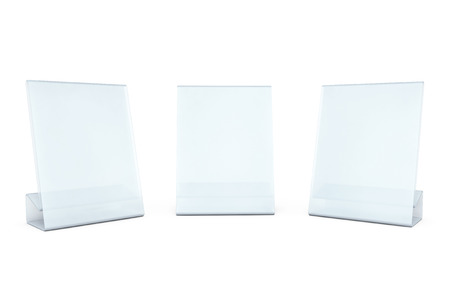 placecard: White Blank transparent table plate cards on a white background