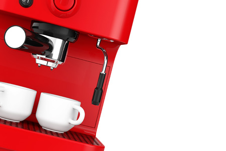 coffee machines: Closeup Espresso Coffee Making Machine on a white background. 3d rendering Stock Photo