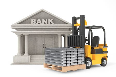 silver bars: Forklift Truck with Stacked Silver Bars near Bank Building on a white background