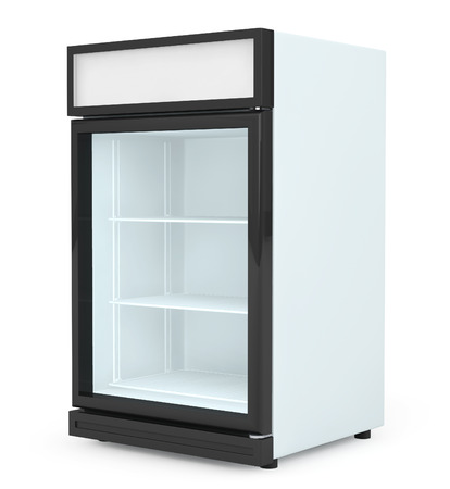 vertical fridge: Fridge Drink with glass door on a white background.