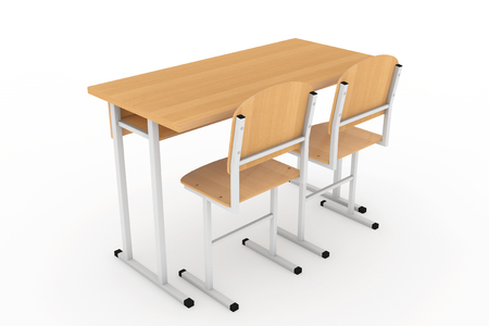 final examination: School Desk and Chairs on a white background