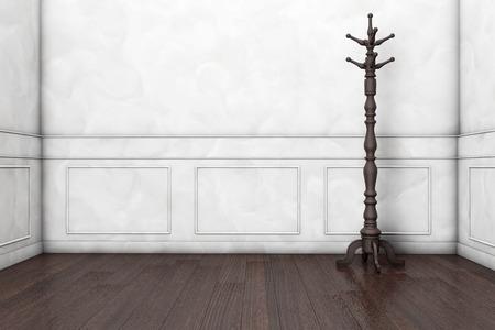 coat rack: Wooden Coat Rack in front of a white wall. 3d rendering Stock Photo