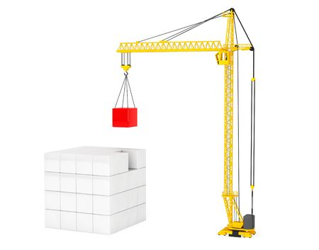 tower crane: Construction of Cubes by Yellow Tower Crane on a white background Stock Photo