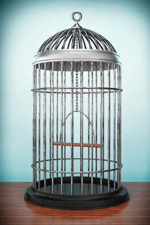 confined: Old Style Photo. Metal Bird Cage on the table Stock Photo