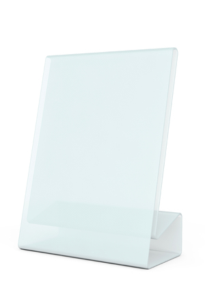 wedding tent: White Blank transparent table plate card on a white background