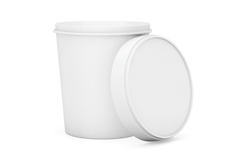 sour: White Food Plastic Tub Bucket Container For Dessert, Yogurt, Ice Cream and Sour Sream on a white background
