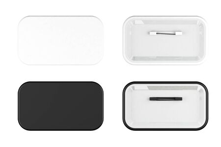 realist: White and Black Badges front and back view on a white background Stock Photo