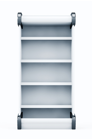 retail display: White Market Rack Shelves Showing Products on a white background