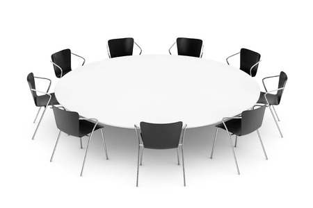 round chairs: Black Office Chairs and Conference Round Table on a white background