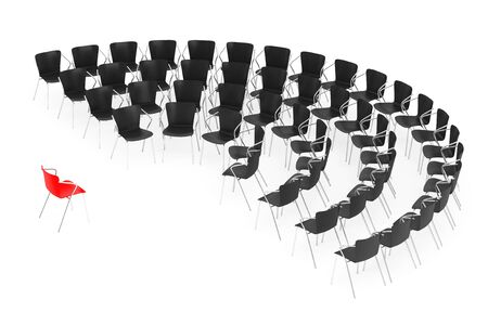 round chairs: Business large meeting. Chairs arranging round with Boss Chair on a white background. 3d rendering