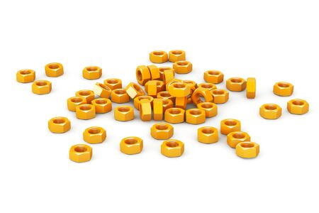metalware: Heap of Golden Screw Steel Nuts on a white background Stock Photo