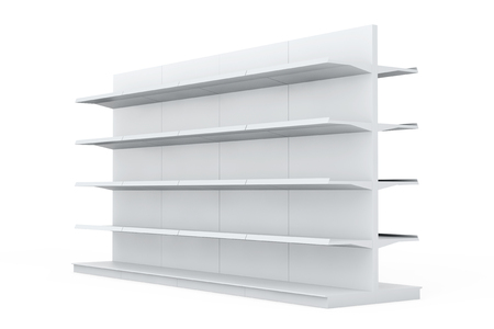 White Market Racks Shelves Showing Products on a white background
