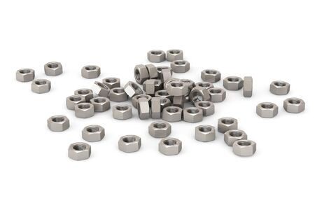 Heap of Screw Steel Nuts on a white background