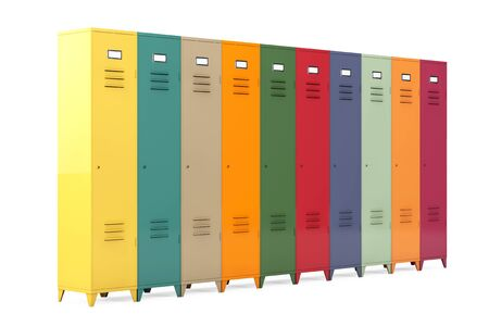 secondary colors: Multicolour Metal Lockers on a white background