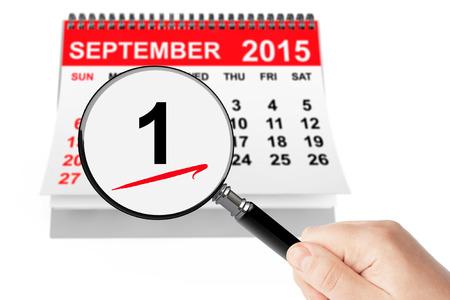 september 1: 1 september Day Concept. 1 september 2015 calendar with magnifier on a white background