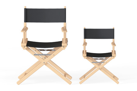 folding screens: Cinema Industry Concept. Directors Chairs on a white background