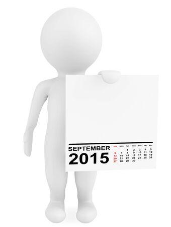 calendar september: Character holding calendar September 2015 on a white background