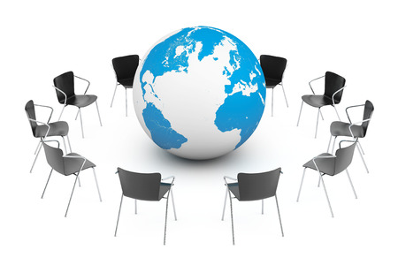 arranging: Business Global meeting. Chairs arranging round with Earth Globe on a white background. 3d rendering