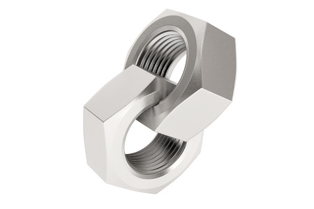 interlocked: Two interlocked screwnuts on a white background Stock Photo