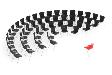 arranging chairs: Business large meeting. Chairs arranging round with Boss Chair on a white background. 3d rendering