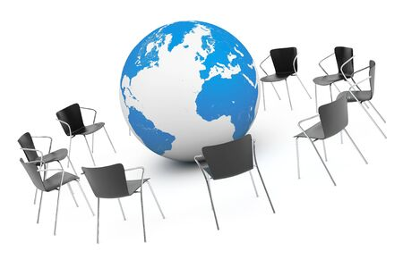 arranging chairs: Business Global meeting. Chairs arranging round with Earth Globe on a white background. 3d rendering