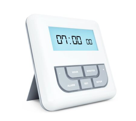 pm: Digital Alarm Clock with LCD Display on a white background