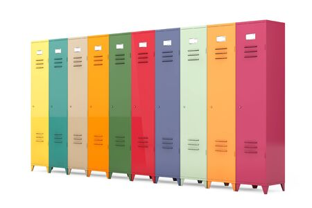 Multicolour Metal Lockers on a white background